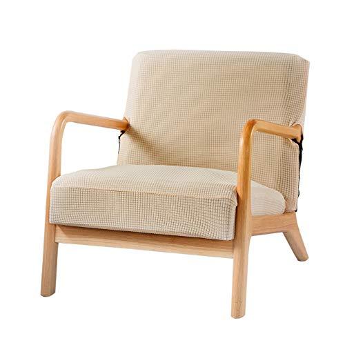 ZUQ Sesselbezug Stretch, Polstersessel Bezug Armsesselbezug Jacquard, Sofabezug Einsitzer Eleganter, Überzug für Gepolsterter Sessel Loungesessel Fernsehsessel Beige