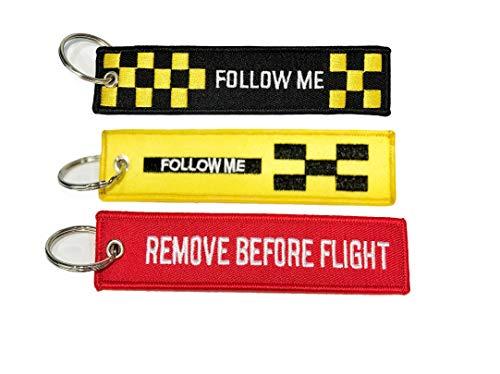 Set di 3 portachiavi Follow Me giallo + Follow Me nero + con scritta Remove Before Flight