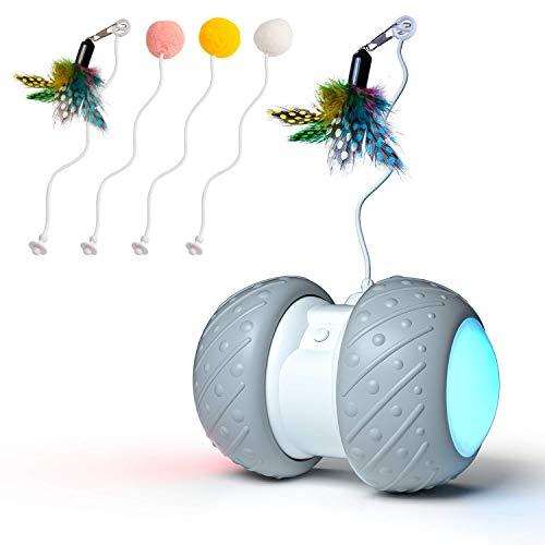 WATSABRO Interaktives Katzenspielzeug Ball, Elektrisches Katzenspielzeug BeschäFtigung mit Automatisch Timer and Federspielzeug, Buntem LED-Rad Intelligenzspielzeug Für Katzen