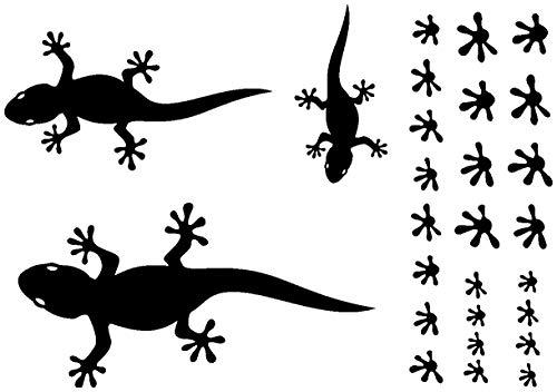 Samunshi® Gecko Wandtattoo Creativ-Set in 5 Größen und 25 Farben (32x22cm schwarz)