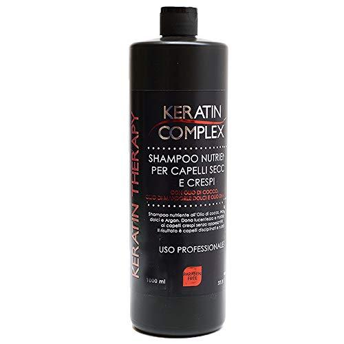 Shampoo nutriente Keratin Therapy alla cheratina per uso professionale con Olio di Cocco, Mandorle Dolci e Argan - 100% made in italy senza parabeni flacone da 1litro per capelli crespi 409