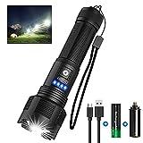 Taschenlampe LED USB Aufladbar, Banral Extrem Hell Hohes Lumen IPX4 Wasserdicht Taschenlampen, Zoombar Taktische Taschenlampe mit 5 Modi, für Outdoor Camping Notfälle,Inklusive 18650 Akku(1PC