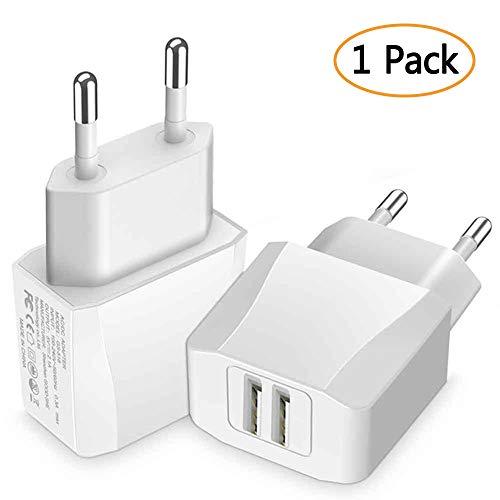 Luvfun Chargeur Secteur USB, 2-Port (5V/2.1A) Chargeur Adaptateur Chargeur Mural USB Universel avec pour Samsung, Nexus, Nokia, Huawei, Tablet Blanc [Lot de 1]