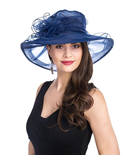 Lucky Leaf Women Lady Kentucky Derby Church Beach Fascinators Hat Wide Floral Brim Flat Hat with Bowknot (Navy)