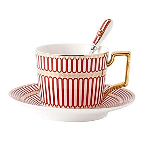 Ceramic Coffee Cup And Saucer Set With Spoon 200ml Nordic Teacup Porcelain Tea Set Advanced Ceramic Teacup For Kitchen Office Cafe And Gift (Color : Red)