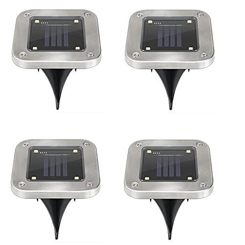 POTTBONS Luz Solar Para Exteriores 4 Cuentas Led Cuadradas Luz Blanca A Prueba De Polvo JardíN Enterrado-Luz Blanca_A