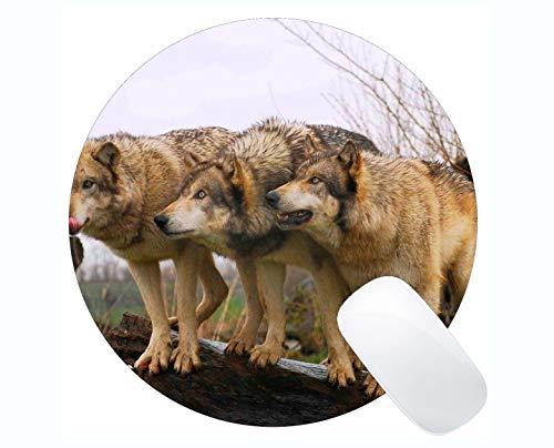 Yanteng Rechteck-Runde Mausunterlage, Tierwolf Axt Gaming Mousepad Mat
