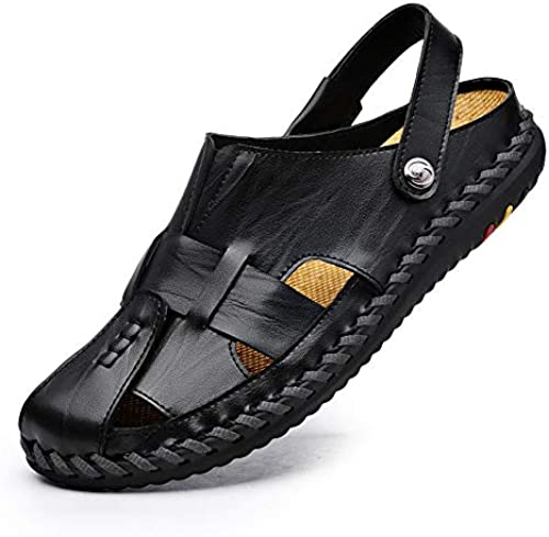 Casual Suede schuhe Herren Sandalen Leder Casual Sandalen Sommer Atmungsaktive Schuhe Outdoor Strandschuhe Herren Turnschuhe (Farbe   Schwarz Größe   44)