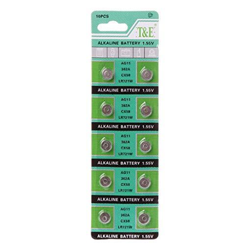 SHOTAY Baterías, 10 Uds, Batería alcalina AG11 1,55 V LR721 362 SR721 162 botón, Moneda, Reloj, Juguetes, baterías, Control Remoto