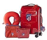 Atlético de Madrid - Pack de Viaje Maleta y Accesorios - Producto Oficial del Equipo Temporada 19/20. Incluye Almohada Cervical, Organizador de Equipaje, Neceser, Antifaz y Etiqueta de Equipaje.