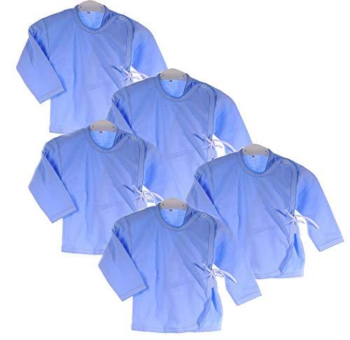 La Bortini Hemdchen 5er Set Paket Baby Wickelshirt Wickelhemdchen Erstlingsshirt Flügelhemd (68)
