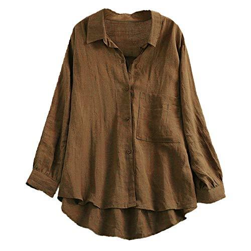VEMOW Herbst Frühling Sommer Elegante Damen Frauen Stehkragen Langarm Casual Täglichen Party Strand Urlaub Lose Tunika Tops T-Shirt Bluse(X3-Kaffee, 44 DE/XL CN)