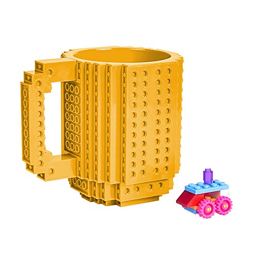 YSBER Build-on Brick Coffee Mug, Funny DIY Novelty Cup with Building Blocks Creative Gift (Silver)