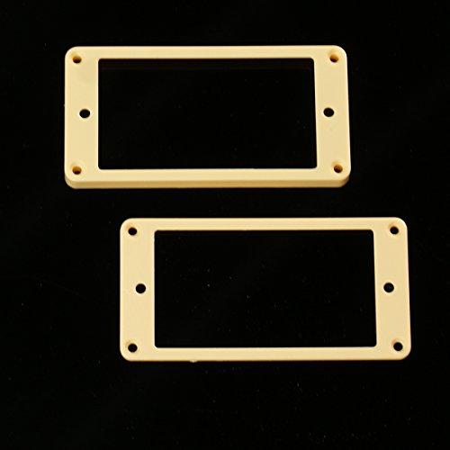 Set of 2 Humbucker Pickup Mounting Rings for bridge and neck pckups, Flat bottom,Cream