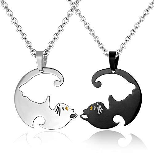 ASOSMOS 2 Stücke Frauen Männer Passende Katze Anhänger Halsketten Edelstahl Paar Halskette Schmuck