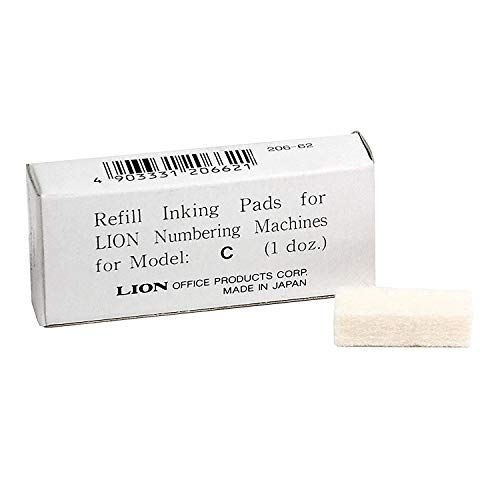 Lion Replacement Ink Pad for C Model Automatic Numbering Machines, 12 Pads/Box, 1 Box (PAD-C)