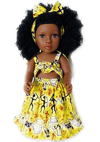 """ALÂÂM 43 cm Afrikanische Puppe kulturelle Black Doll Stehpuppe mit natürlichen Haaren in goldenem Strandoutfit """"Afro Dancers"""" weiche Krauselocken"""