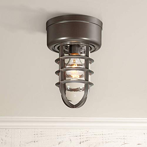 Marlowe Nautical Outdoor Ceiling Light Hanging Fixture Bronze Cage 10 3/4 Clear Glass Damp Rated for Exterior House Porch Patio Outside Deck Garage Front Door Home Roof Gazebo - John Timberland