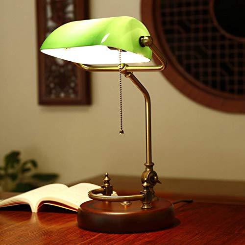 Cakunmik Retro Hölzern Schlafzimmer Nachttischlampe mit Grüner Glasschirm, Bankers Schreibtischlampe Büro Beleuchtung Metallverstellbare Tischlampe E27 Licht mit Pull Line Schalter