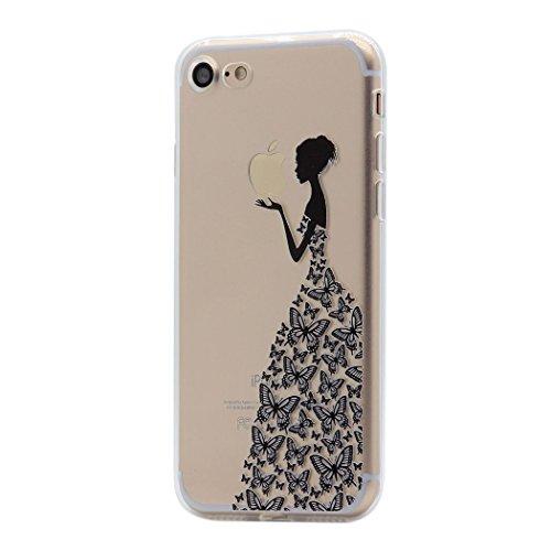Hamyi iPhone SE 2020 Custodia iPhone 8/7 Cover Interessante Divertente Modello Leggero Sottile Morbido Trasparente Chiaro TPU Silicone Caso per Apple iPhone SE (Principessa gonna nera farfalla)