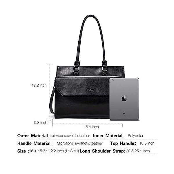CLUCI Briefcase for Women Oil Wax Leather Vintage 15.6 Inch Laptop Business Shoulder Bag Leather Wallet for Women Slim Clutch Purse Long Designer Trifold Ladies Credit Card Holder Organizer Black 2