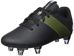 canterbury Boys' Phoenix 3.0 Plus Junior Soft Ground Rugby Boot, Black/Deep Lichen Green/White, 5.5 UK from Canterbury