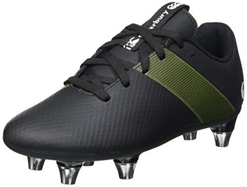 Canterbury Boys' Phoenix 3.0 Plus Junior Soft Ground Rugby Boot, Black/Deep Lichen Green/White, 2 UK Medium