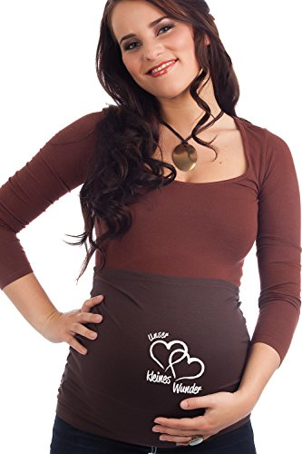 Mamaband Schwangerschaft Bauchband Unser kleines Wunder für die Babykugel, Braun, Gr.- 32-36/ S