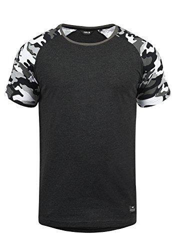 !Solid Cahil Herren T-Shirt Kurzarm Shirt mit Rundhalsausschnitt und Camouflage-Muster, Größe:M, Farbe:Dark Grey Melange (8288)