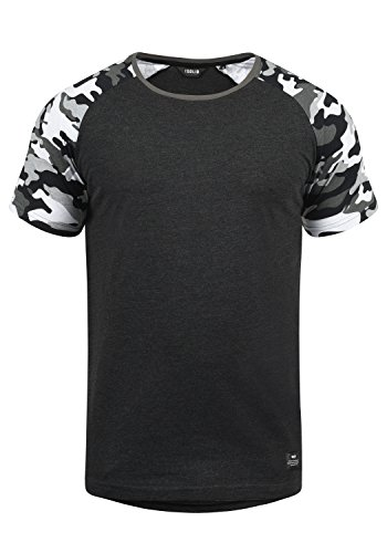 !Solid Cahil Herren T-Shirt Kurzarm Shirt mit Rundhalsausschnitt und Camouflage-Muster, Größe:L, Farbe:Dark Grey Melange (8288)