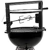 bbq-toro griglia mobile con spiedo e griglia per grill a sfera   set di spiedi con 2 aghi per carne, griglia regolabile in altezza, motore per campeggio, outdoor