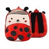 Ladyzone Toddler Backpack Zoo Animals Backpacks Cute Plush Bag Cartoon 10' Preschool Book Bag For 1-6 Years Girls Boys (Ladybug)