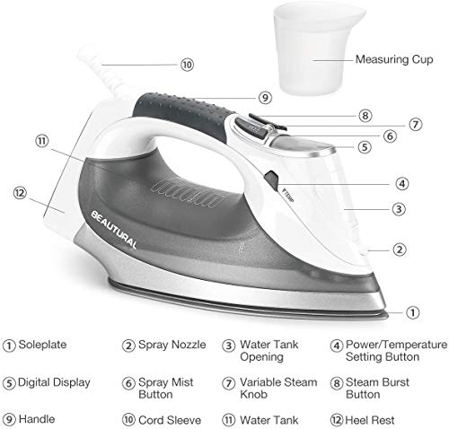 BEAUTURAL 2400 W Steam Iron with LCD Display, Variable Temperature and Double Ceramic Coated Soleplate, 8 ft Power Cord and 340ML Tank-White/Grey