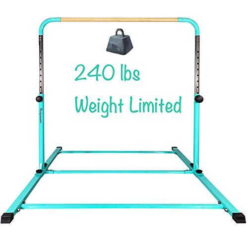PreGymnastic Updated No Wobble Expandable Gymnastics Kip Bar with Fiberglass Rail & 304 Stainless Steel Regulating Arms, Adjustable Height 3'-5' Junior PRO Gymnastics Bar