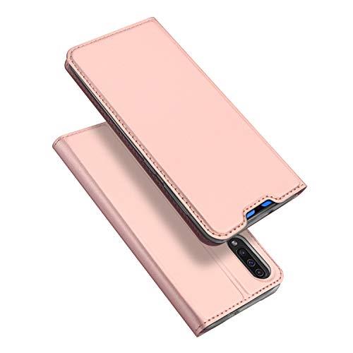 DUX DUCIS Hülle für Samsung Galaxy A70, Leder Flip Handyhülle Schutzhülle Tasche Hülle mit [Kartenfach] [Standfunktion] [Magnetverschluss] für Samsung Galaxy A70 (Rose Golden)