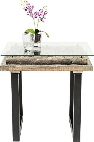 Kare Design - Table d'appoint Moderne Bois sculpté Verre Khalif