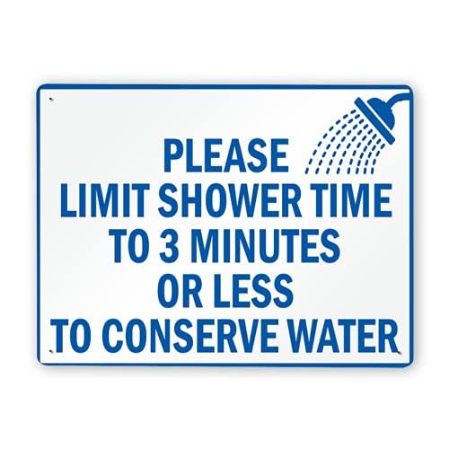 Letreros de metal,letrero de ahorro de agua en la ducha,limite el tiempo de la ducha a 3 minutos o menos para conservar el agua,12 x 16 pulgadas,Decoración de señales de advertencia