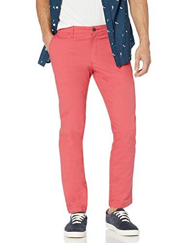 Amazon Brand - Goodthreads Men's Straight-Fit Washed Comfort Stretch Chino Pant, Washed Red, 38W x 30L