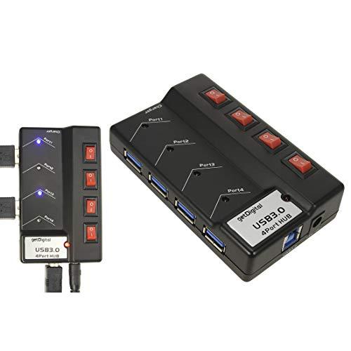 getDigital Ultimate Hub mit Stromversorgung 4 schaltbares Port USB 30 schwarz