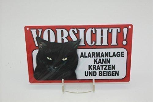 ALARMANLAGE KANN KRATZEN - Tierwarnschild - VORSICHT Tier Warnschild 20x12 cm KATZE CATS Schild 48