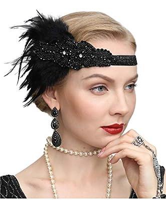 Cizoe Women's Vintage Feather 20S Headpiece 1920S Flapper Headband Roaring