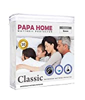 PapaHome Hypoallergenic Knitted Polyester Mattress Protector - Lab Tested Waterproof - Fitted Cover - Vinyl Free - 4 Available (Full, Grey)