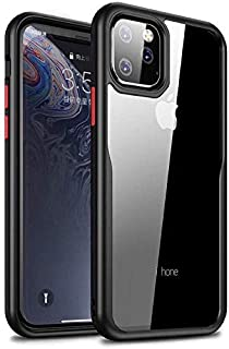 "aurbull Premium Hybrid Protective Case with HD Transparent Back for iPhone 11 Pro Max""6.5"" -Black-Red Button"
