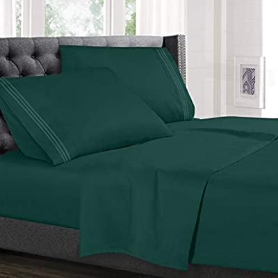 Hearth & Harbor 4 Piece Bed Sheet Set - Luxury Soft Double Brushed Microfiber - Deep Pockets, Hypoallergenic, Queen Size, Hunter Green