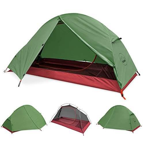 KAZOO Ultralight Eco-Friendly 1 Person Backpacking Tent Waterproof Tents Hiking Lightweight One Person Aluminum Frame(Eco-Friendly Fabric