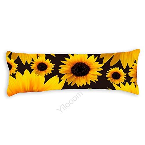 Funda de almohada para el cuerpo, funda de almohada protectora de almohada con cierre de cremallera para decoración del hogar, 50 x 130 cm, girasol #158