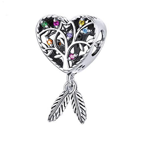 FeatherWish Colgante de plata de ley 925 con forma de corazón atrapasueños, árbol de la vida, con circonita cúbica, compatible con pulsera o collar Pandora