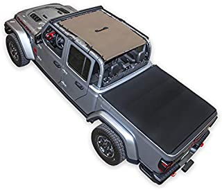 SPIDERWEBSHADE Jeep Gladiator Mesh Shade Top Sunshade UV Protection Accessory USA Made with 10 Year Warranty for Your JT 4-Door (2018 - current) Tan