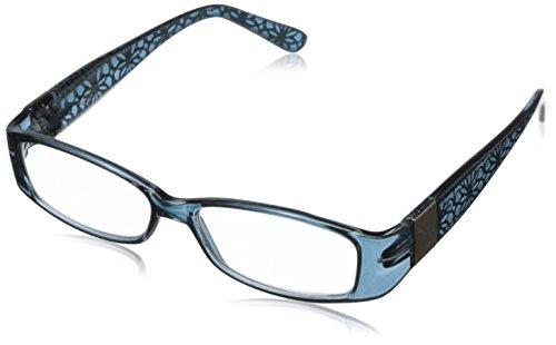 Foster Grant Women's Posh Rectangular Reading Glasses, Blue/Transparent, 52 mm + 2