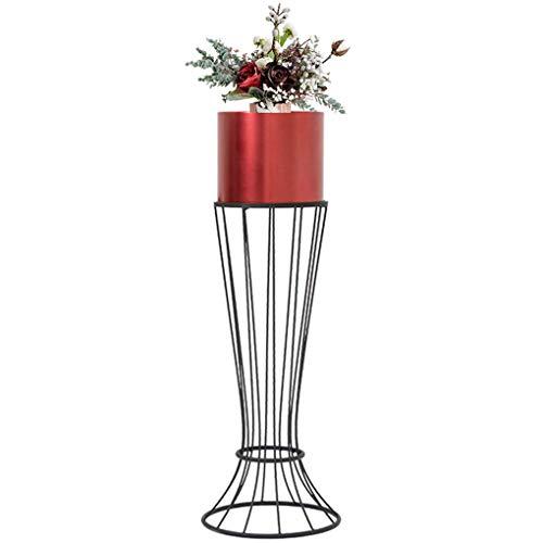 GWM Stand de Fleurs en métal Art de Fer décoration Stand de Fleurs Salon Balcon Multicouche étage-Stand Plante à Fleurs, Noir, 20 * 69CM (Couleur : Red, Taille : 20 * 69CM)